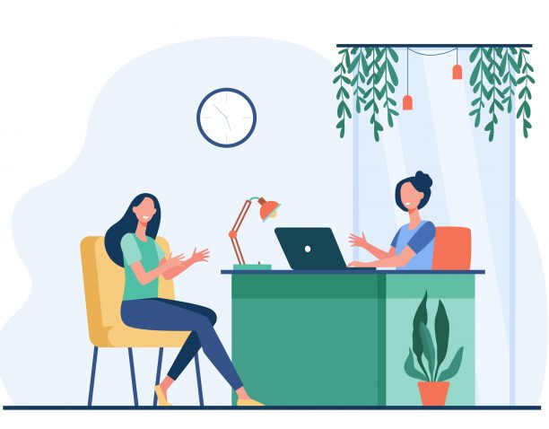 Woman characters having business conversation or meeting flat vector illustration. Cartoon HR manager talking with candidate for job. Interview and career concept